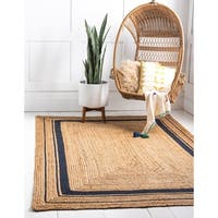 Unique Loom Braided Jute Area Rug - 6' x 9'