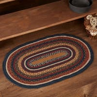 VHC Stratton Navy Blue Primitive Flooring Oval Jute Rug