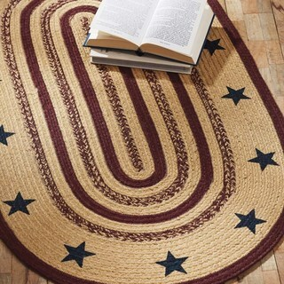 VHC Potomac Natural Tan Primitive Americana Flooring Stars Stenciled Oval Jute Rug