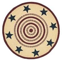 Tan Primitive Flooring VHC Potomac Stars Rug Jute Star Stenciled Round - 3' x 3'