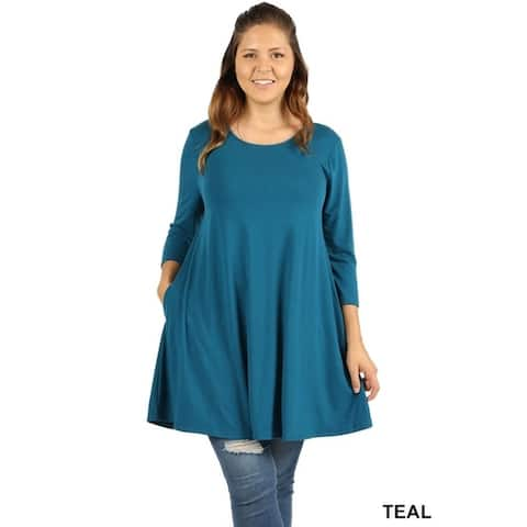 JED Women's Plus Size Swing Tunic Top with Pockets