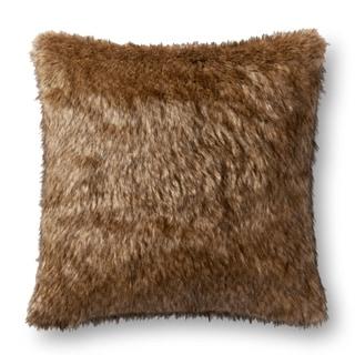 Faux-fur Brown/ Tan Shag 22-inch Pillow Cover