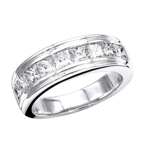 14K Gold Diamond Ring Men's Wedding Band 2.4ctw by Luxurman