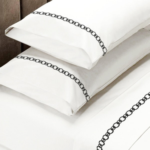 f3ad57caf416 Shop 300 Thread Count Cotton Sheet Set Twin White-Black Chain Embroidery -  On Sale - Free Shipping On Orders Over $45 - Overstock - 22876091