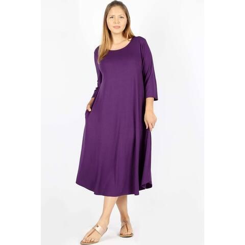 JED Women's Plus Size 3/4 Sleeve Midi Dress with Pockets
