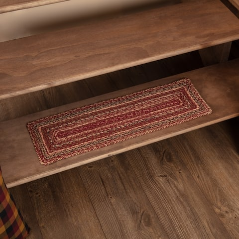 VHC Cider Mill Burgundy Red Primitive Country Flooring Jute Stair Tread with Latex - 8 Inch x 28 Inch