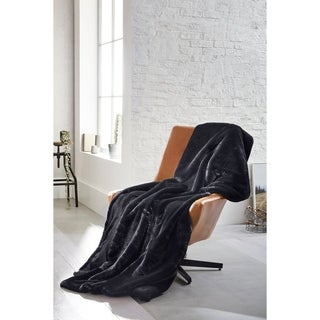 IBENA Faux Fur Throw Blanket Back Panther