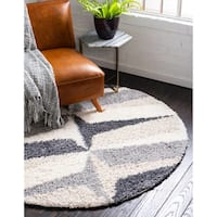 Unique Loom Balanced Hygge Shag Round Rug - 3' 3 x 3' 3