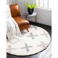 Unique Loom Positive Hygge Shag Round Rug - 5' x 5'