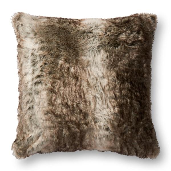 Shop Faux Fur Brown Textured Shag 22 Inch Pillow Cover