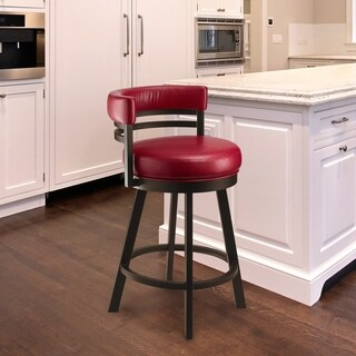 Taylor Grey Home Amora Dillon Lipstick Red/Cappuccino Faux Leather/Metal Bar-height Swivel Bar Stool