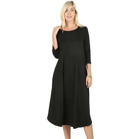 JED Women's Soft Fabric 3/4 Sleeve Midi Dress with Pockets