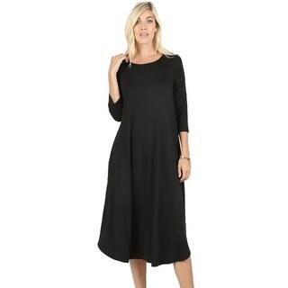 JED Women's Soft Fabric 3/4 Sleeve Midi Dress with Pockets