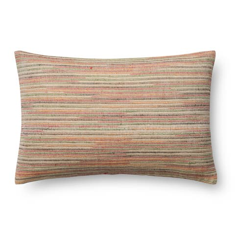 Woven Beige/ Multi Striped 13 x 21 Pillow Cover