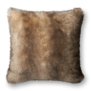 Faux-fur Brown/ Cream Textured 22-inch Pillow Cover