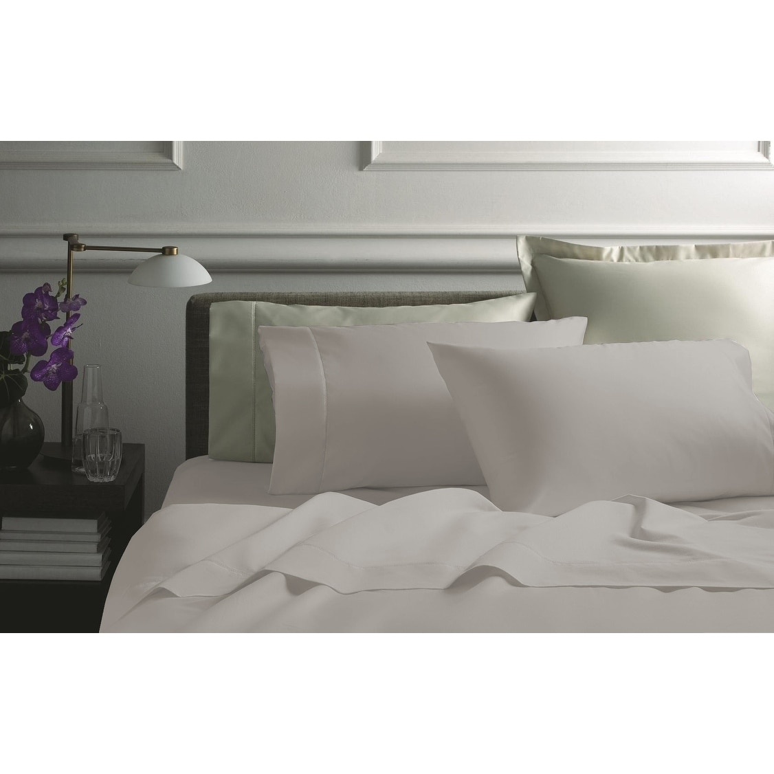 4 PCs Sheet Set 1000 Thread Count Egyptian Cotton Full Size White Solid