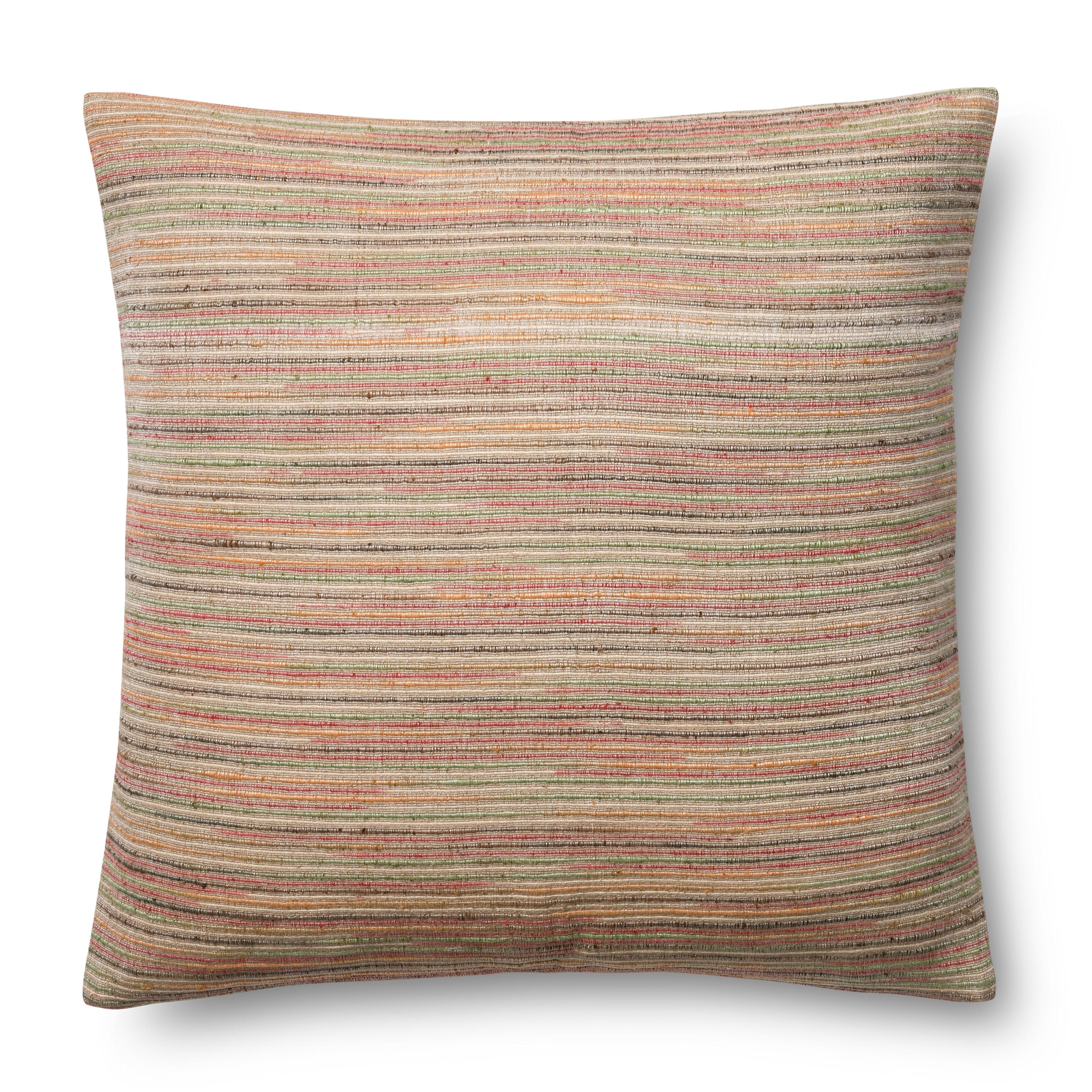 Woven Beige Multi Striped 22 Inch Pillow Cover