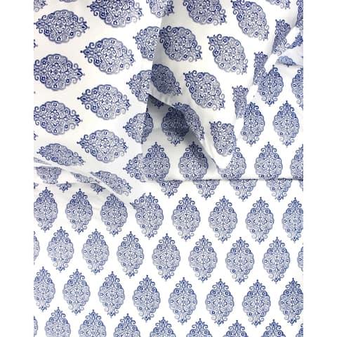 Printed Design Cotton Collection 400 Thread Count Navy Bali Duvet Set