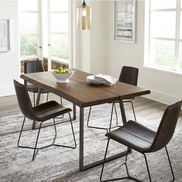 894fe9d1af Grain Wood Furniture Live Edge industrial Dining Table - Light Oak -  63x36x30