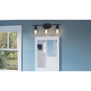Newlin Powder Coat Bronze 3-light Seedy Glass Bathroom Vanity Light