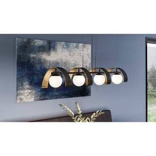 Strick & Bolton Sevada Black 4-light Opal Etched Glass Linear Chandelier