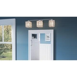 Brightly Polished Chrome 3-light Ice Cube Glass Bathroom Vanity Light