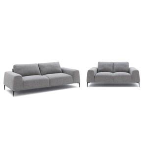 Divani Casa Arthur Modern Grey Fabric Sofa & Loveseat Set