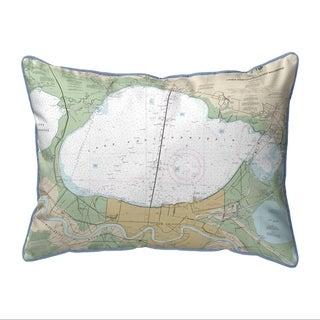 Lake Pontchartrain, LA Nautical Map Large Pillow 16x20