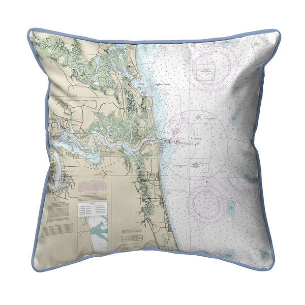 Jacksonville, FL Nautical Map Large Corded Indoor/Outdoor Pillow 18x18