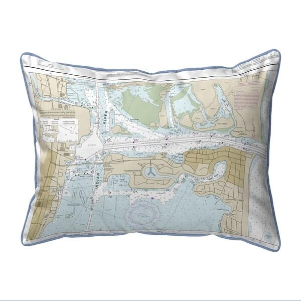 Fort Pierce Harbor, FL Nautical Map Large Corded Indoor/Outdoor Pillow 16x20