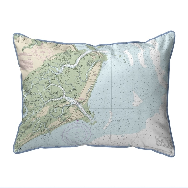 Fripp Island, SC Nautical Map Large Corded Indoor/Outdoor Pillow 16x20