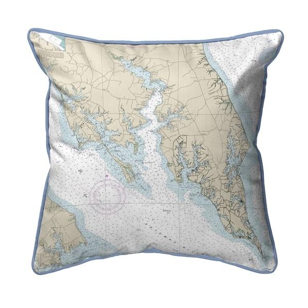 Leonardtown, MD Nautical Map Large Corded Indoor/Outdoor Pillow 18x18