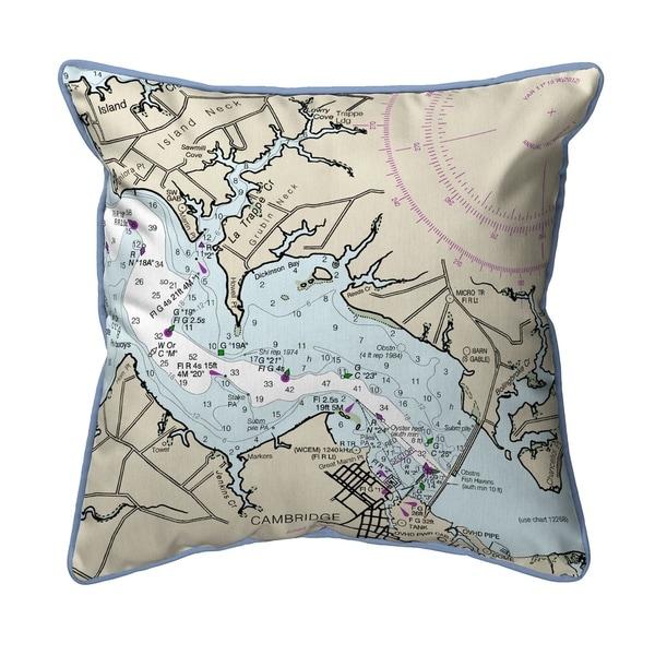 Cambridge, MD Nautical Map Large Indoor/Outdoor Pillow 18x18
