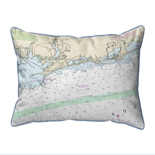 Block Island Sound, RI Nautical Map Pillow 16x20