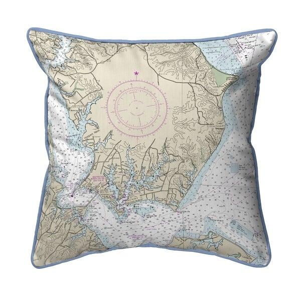 Slomons Island, MD Nautical Map Pillow 18x18