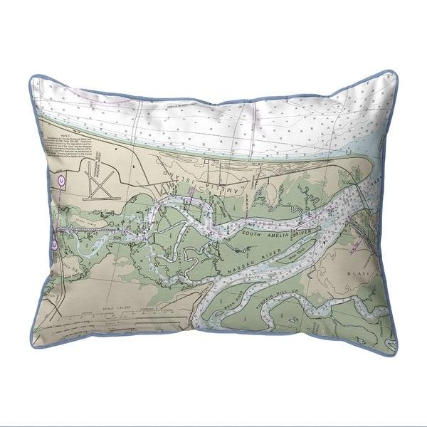Amelia Island, FL Nautical Map Pillow 16x20
