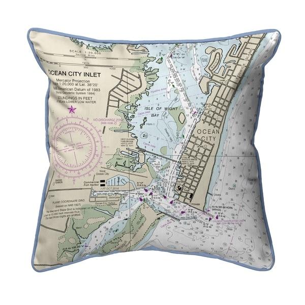 Ocean City Inlet, VA Nautical Map Large Pillow 18x18