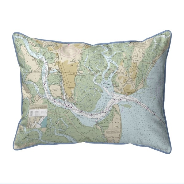 St Simons Sound, GA Nautical Map Pillow 16x20