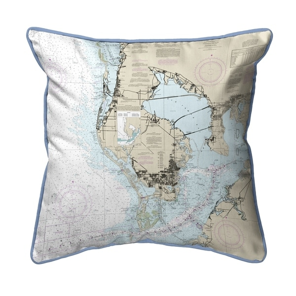 Tampa Bay, FL Nautical Map Pillow 16x20