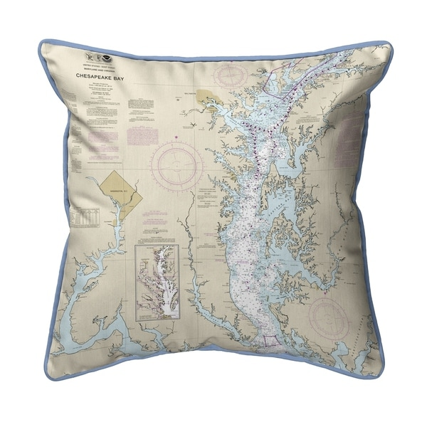Chesapeake Bay - Rock Hall, MD and VA Nautical Map Large Pillow