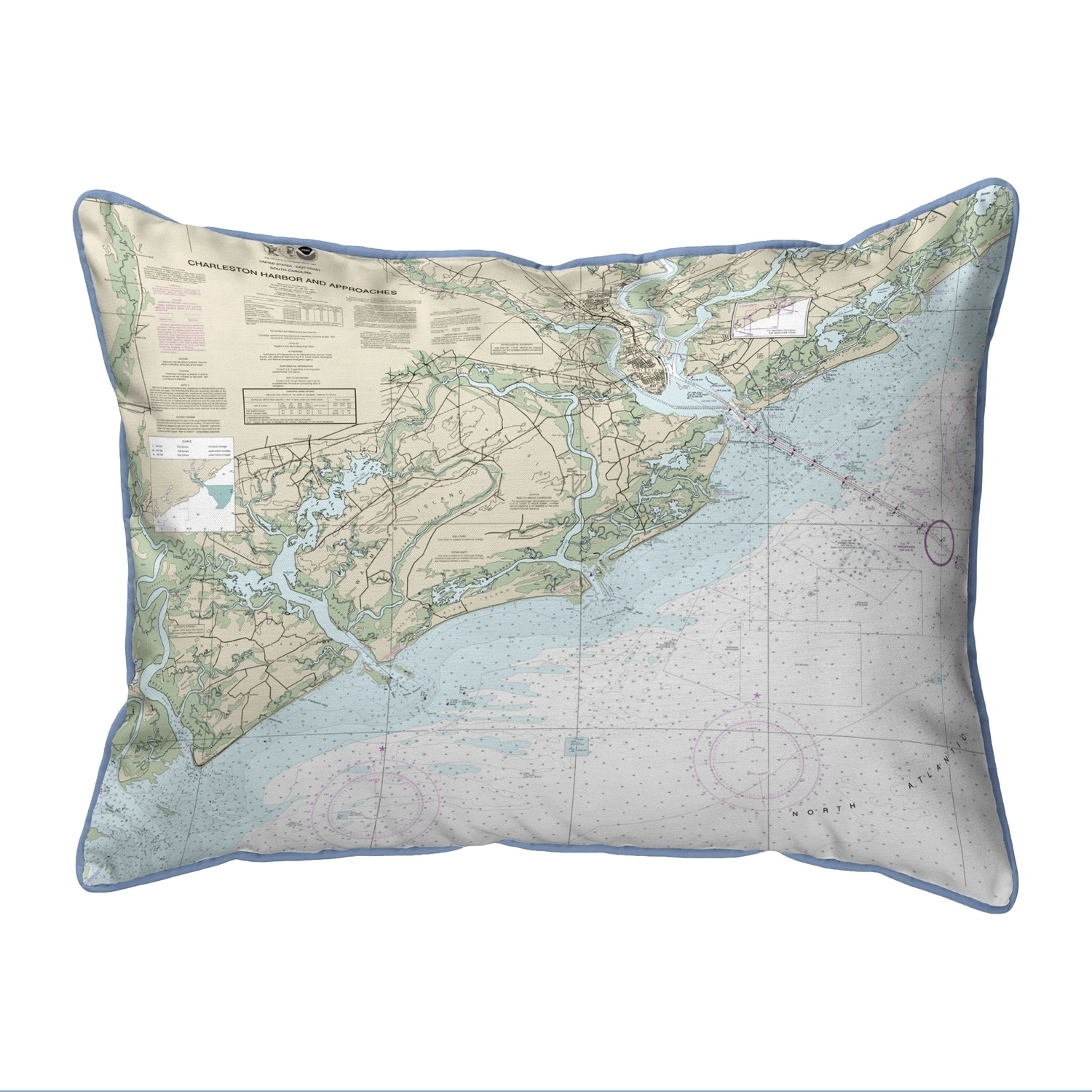 Charleston Harbor And Approaches Sc Nautical Map Large Corded Indoor Outdoor Pillow 16x20 Overstock 22878127