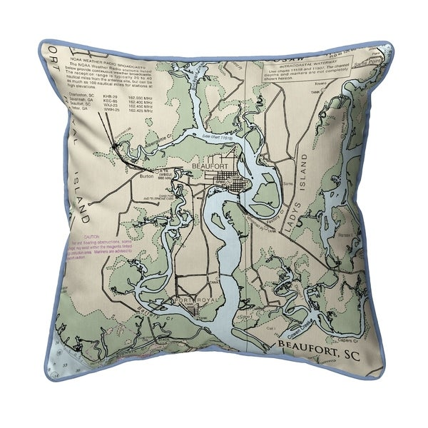 Beaufort - Detail, SC Nautical Map Large Corded Indoor/Outdoor Pillow 18x18