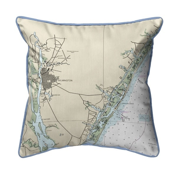 Wilmington - Wrightsville Beach, NC Nautical Map Pillow