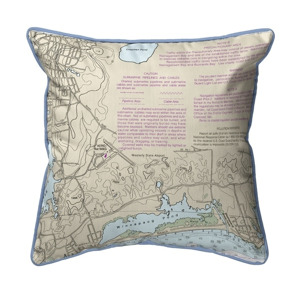 Block Island Sound - Westerly State Airport, RI Nautical Map Pillow