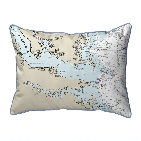 Chesapeake Bay, VA Nautical Map Large Pillow 16x20