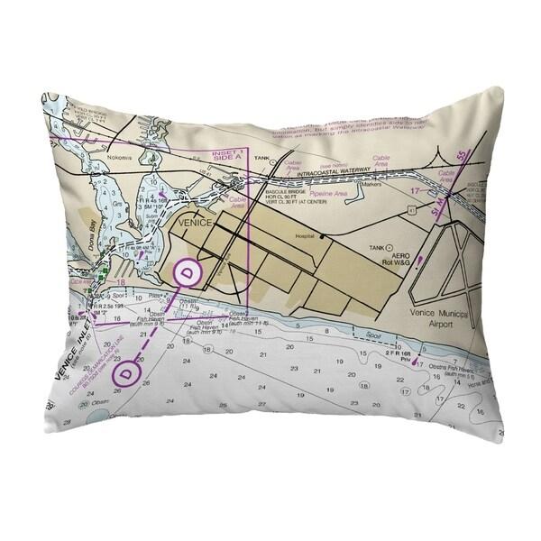 Venice Inlet, FL Nautical Map Noncorded Indoor/Outdoor Pillow 16x20