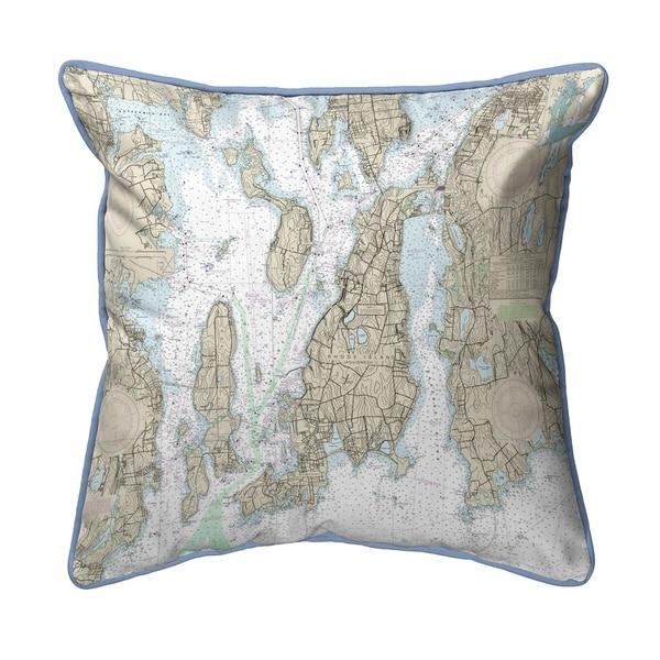 Narragansett Bay, RI Nautical Map Pillow 16x20
