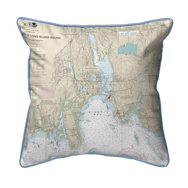 North Shore Long Island to Niantic Bay, CT Nautical Map Pillow