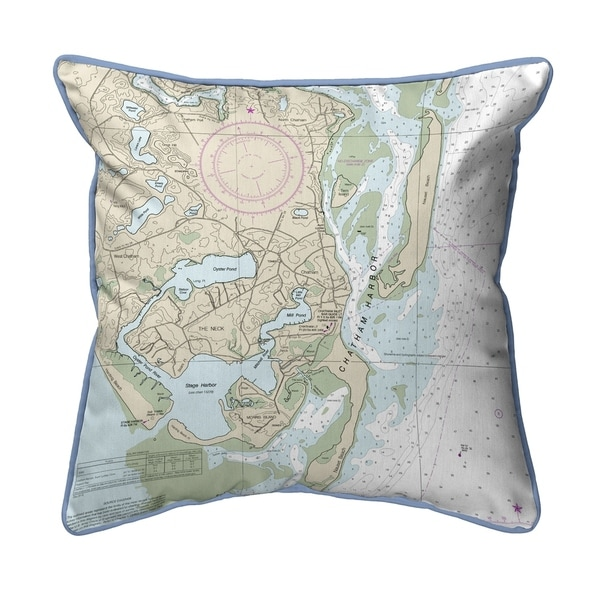 Chatham Harbor, MA Nautical Map Pillow 18x18