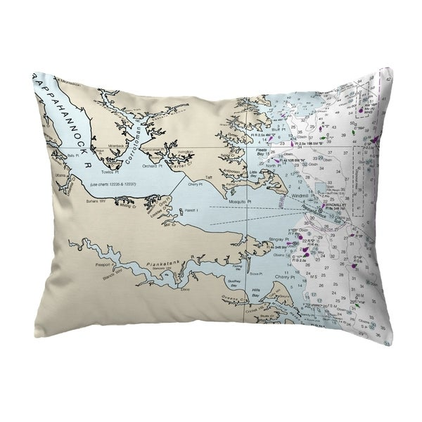 Chesapeake Bay, VA Nautical Map Noncorded Indoor/Outdoor Pillow 16x20